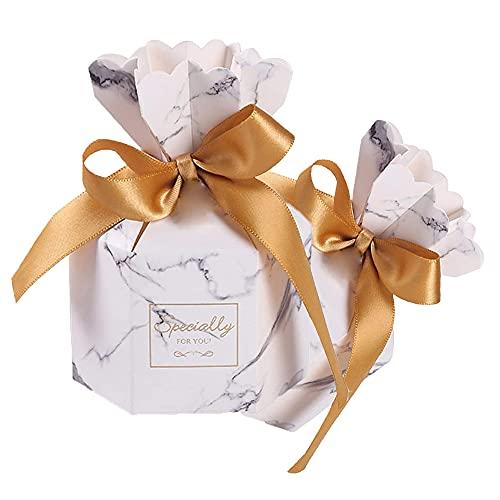 50 Piezas Caja de Dulces, Cajas de Dulces de Boda, Caja de Regalo con Cinta, Caja de Regalo para Invitados, Caja de Papel de Caramelo, Caja de Dulces con Cinta para Compromiso, cumpleaños, Fiesta