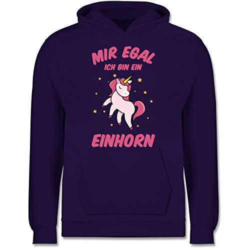 Sprüche Kind - Mir egal ich Bin EIN Einhorn - 116 (5/6 Jahre) - Lila - Einhorn Pullover mädchen ich Bin 4 - JH001K JH001J Just Hoods Kids Hoodie - Kinder Hoodie