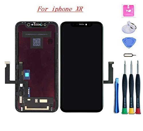 XLSBZ Premium Screen Replacement Compatible with iPhone XR Screen Replacement 6.1 inch (Model A1984, A2105, A2106, A2108) Touch Screen Display digitizer Repair kit Assembly with Repair Tools