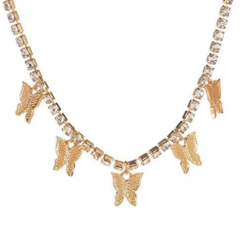 Janly Clearance Sale Collares y colgantes para mujer, de oro rosa, con colgante de mariposa, collar de suéter, cadena de señora, regalo, joyería y relojes para Navidad, día de San Valentín (oro)