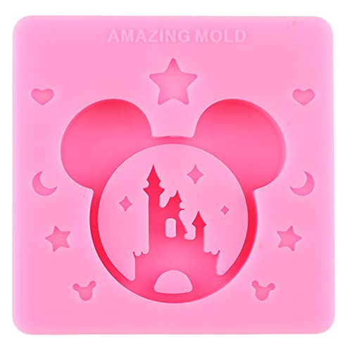 Mickey Castle Drijfzand Fles Siliconen Mallen Epoxyhars Gebruikt om Casting Sleutelhanger Telefoon Grip Schimmel Chocolade Snoep Fondant Moud