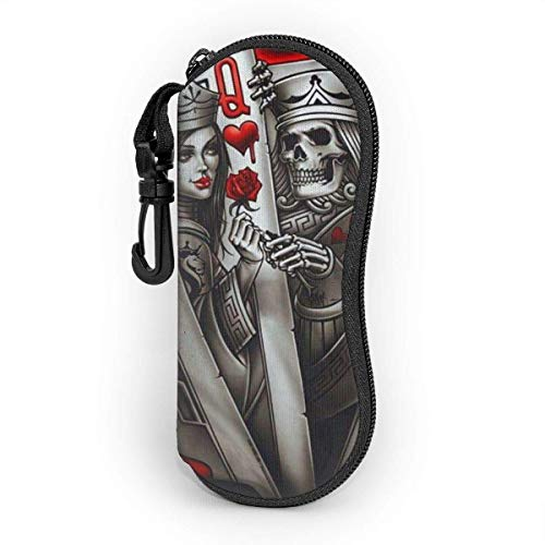 King-Ace Of Spades Sunglasses Soft Case With Belt Clip,Light Soft Protective Neoprene Zipper Eyeglass Pouch,17cm×8cm