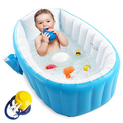 Inflatable Baby Bathtub with Air Pump, Baby Bath Tub Toddler Bathtub, Foldable Shower Basin for Newborn, Portable Travel Bath Tub for Girl with Seat, Baby Shower Gift