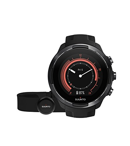 Suunto 9, GPS Sports Watch with Long Battery Life and Wrist-Based Heart Rate, Barometer, Black, Heart Rate Belt