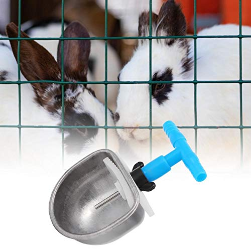 ❤ 𝐍𝐞𝒘 𝐘𝐞𝐚𝐫'𝐬 𝐃𝐞𝐚𝐥❤ Automatic Rabbit Drinking Water Bowl Dispenser, 5Pcs Stainless Steel Automatic Rabbit Drinker Nipple Drinking Bowl Waterer Farm Accessories (Small Bowl) [Christmas gift,