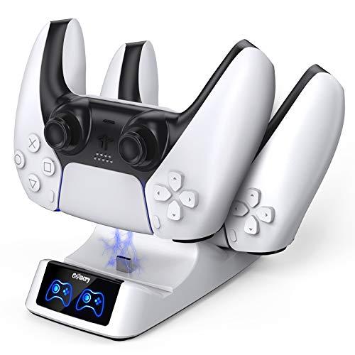 Cargador Mando PS5, Soporte Mando PS5 Estación de Carga Rápida Doble USB con LED Indicador, Base de Carga para Playstation 5 Protección Inteligente Doble Carga Estación de Carga PS5 Accesorios