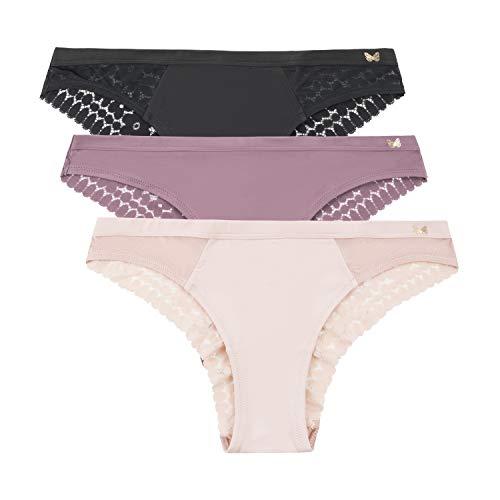 Jessica Simpson Women's Brushed Microfiber and Lace Tanga Underwear Multi-Pack, (3-Pack) Black/Grape Shake/Rose Smoke, Small