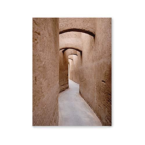 Laminas Decorativas | Modelo Arquitectura | Callejón en Yazd, Iran | Marco Color Blanco | Passepartout Gris | Decoración Hogar | Laminas Decorativas para Enmarcar | Laminas para Cuadros | 40x50cm