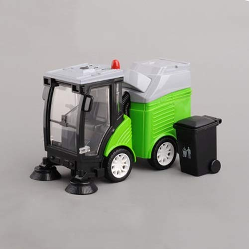 Xolye Legierung Garbage Sweeper Modell Spielzeugauto 3 Farben Kinder Kehrmaschine Spielzeug mit Trash Can Metall Anti-Fallen Sound and Light Pull Back-Spielzeug-Auto (Color : Grün)