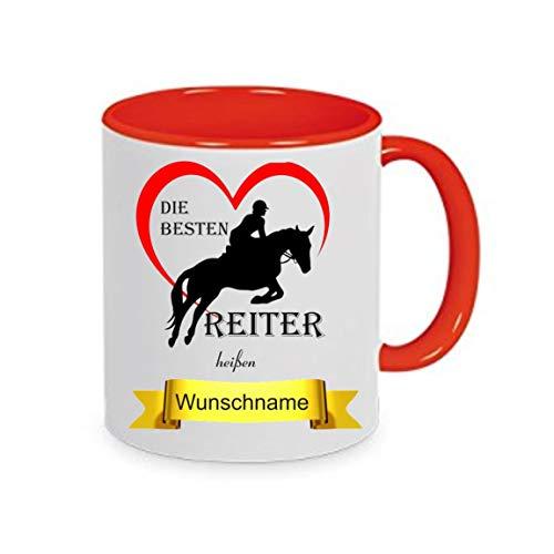 Crealuxe Tasse m. Wunschname Die besten Reiter heißen. Wunschname - Kaffeetasse mit Motiv, Bedruckte Tasse mit Sprüchen oder Bildern