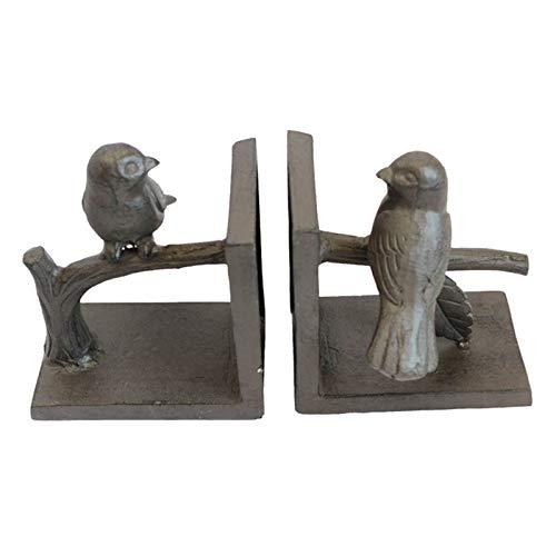 Sujetalibros 1 Par Rústico Estantes, Hierro Fundido Escultura con Estampado de Pájaros Dobles, Escritorio Tapón de Libro, Sala de Estudio Adornos