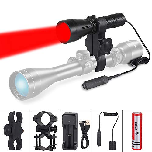 UltraFire H-R4 620 nm rött ljus taktiskt ficklampa kit, med 18650 3,7 V 2 600 mAh uppladdningsbart batteri, USB-laddare, fjärrströmbrytare, hållare, röd LED vattentät jaktlampa för mörkerseende