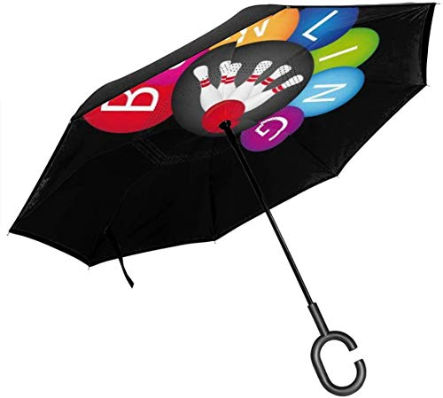 Umkehrbarer Regenschirm mit 2 Schichten, faltbar, Winddicht, UV-Schutz, tragbar, mit C-förmigem Griff innen, Bowlingkugel-Druck, für Auto, Regen, Outdoor, 8 Skelett