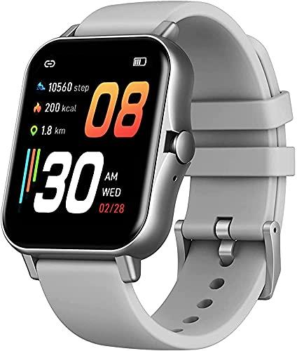 Smart Watch Bluetooth Ringa Samtal Musikspelare Se Sömnskärm Och Blodtrycksmätare För Män Kvinnor(Color:Silver)