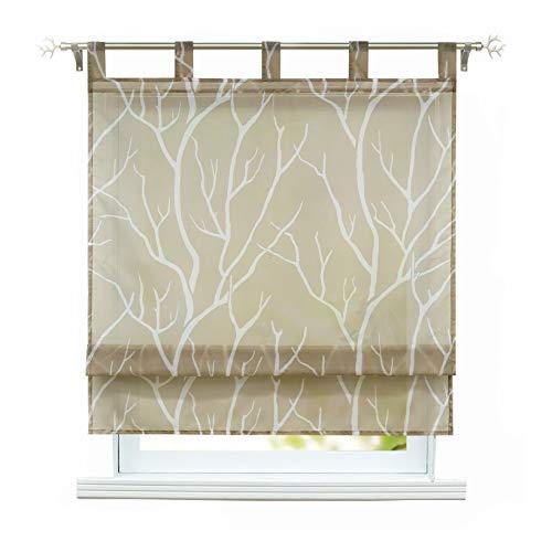 ESLIR Raffrollo mit Schlaufen Gardinen Küche Raffgardinen Transparent Schlaufenrollo Modern Vorhänge Braun BxH 140x140cm 1 Stück