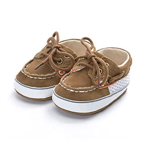 GUOQUN-SHOP Plataforma Unisex bebé Baby Boy Girls Vintage PU Zapatos Antideslizantes de Cuero recién Nacidos t- Atados a los Primeros Caminatas para niños pequeños - Arriba Zapato Suela Suave