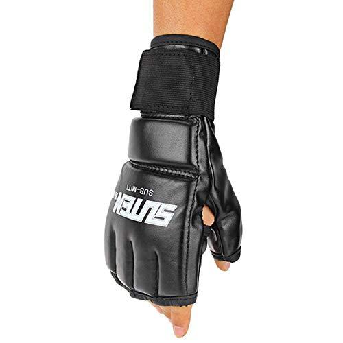 XQxiqi689sy 1 Paar UFC MMA Muay Thai Sparring Kickboxen Handschuhe Gym Thai Sparring Training Boxen Ultimate Mitts Fingerlose Elite Sports Boxhandschuhe – Schwarz Rot