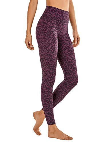 CRZ YOGA Donna Vita Alta Yoga Fitness Spandex Palestra Pantaloni Sportivi 7/8 Leggins con Tasche-63cm Stampa Leopardo 6 44