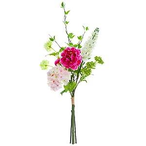 34″ Peony, Hydrangea & Snowball Silk Flower Bouquet -Beauty/Pink (Pack of 4)
