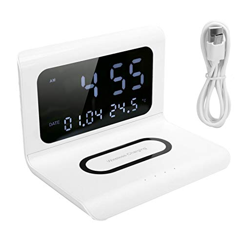 Cargador inalámbrico del teléfono Plegable, exhibición inalámbrica del Tiempo de la estación de Carga del teléfono para el teléfono(White)