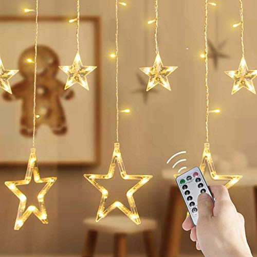 Star Curtain Lights,12 Stars 138 LED Curtain String Lights with Remote and Timer, Fairy Lights with 8 Modes for Christmas Wedding Decoration Home Patio Lawn, Warm White