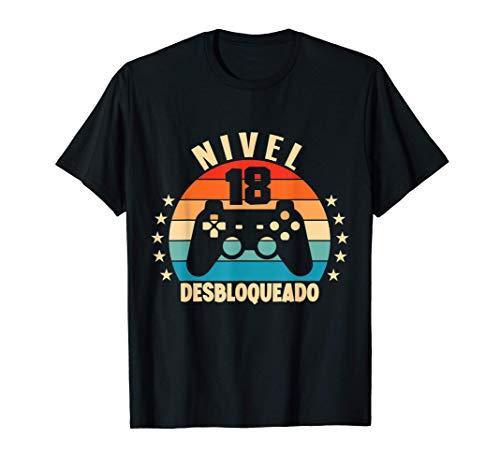 Nivel 18 Desbloqueado Gamer 18 Años 2003 Divertido Chico Camiseta