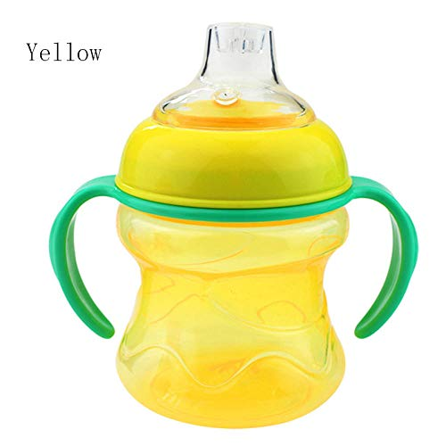 NO BAND Biberones de succión Vasos para bebés Biberón de Leche de Agua Biberón para bebés Entrenamiento para bebés con Asas Copas-A_Amarillo