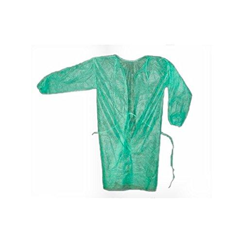10 Batas desechables color verde con cierre trasero con puño elástico