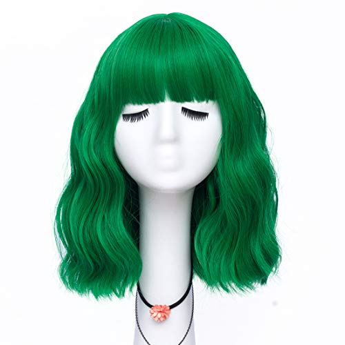Labeauté Short Bob Wavy Wig with Air Bangs for Women, Heat Resistance Shoulder Length Curled Wigs for Daily Use, Cosplay and Theme Parties- 14inch, Mint Green
