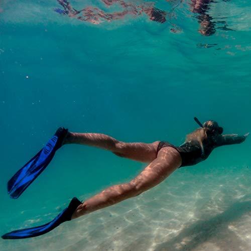 Split Snorkel Fins, Full Foot Diving Fins and Scuba Flippers Fins, Includes Mesh Bag (Blue, ML EUR 41-42 US Men 7.5-8.5 Women 8.5-9.5)