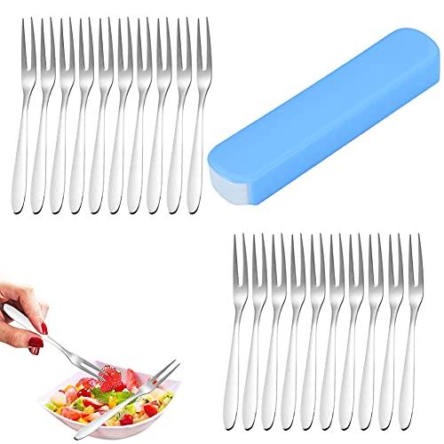 Tenedores de postre Tenedores de mesa Tenazas para marisco Tenedores,acero inoxidable,con caja de almacenamiento,20 piezas