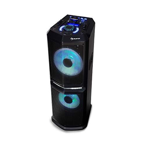 auna Clubmaster 8000 Party-Audiosystem, Party-Lautsprecher, Bluetooth, bis 120 Watt max, 2 x 10 Subwoofer, FM/UKW Radiotuner, USB-Port, LED-Lichteffekt, inkl. Fernbedienung, schwarz