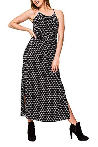 VERO MODA Damen Maxi Kleid Trägerkleid mit Print (S, Black/Rebecca)