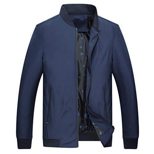HHyyq Herren Langarm Jacke Oversize Feste Farben für Business Freizeit mit Revers Stilvolle Herren Herbst Winter Stil Winddicht individuelle Jacke Tops(Blau,XL)
