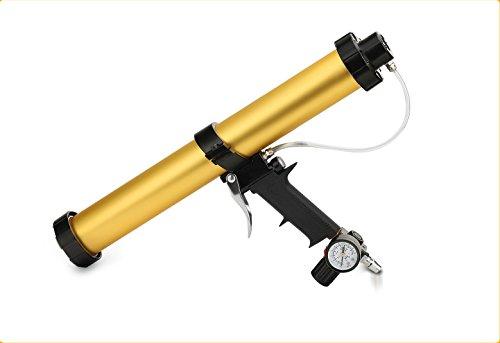 Neumática Pistola de Calafateo-TopSer DT9347-1 600ml Neumático Pistola enmasilladora con 450mm Barril de Aluminio para 310ml,400ml,600ml Salchicha de Goma, 6,8 Bar Empuje