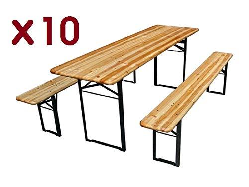 francky-shop 10 Tables Brasserie + 20 bancs Pliable 200 x 60 cm Bois 27 mm