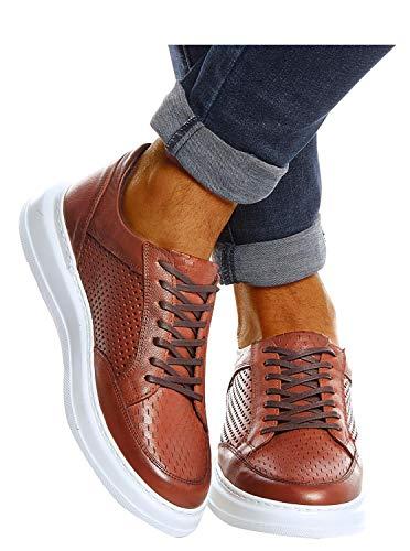 Leif Nelson Herren Schuhe Leder Freizeitschuhe elegant Winter Sommer Freizeit Männer Sneakers Sportschuhe Laufschuhe Halbschuhe LN437 Größe 40 Braun
