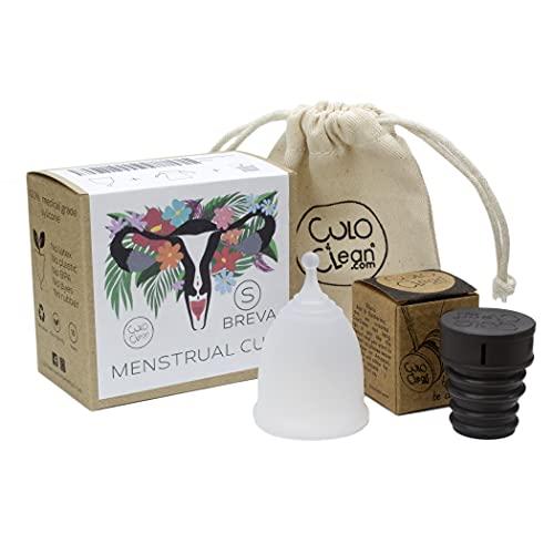 CuloClean Menstrual Cup Breva (S). Pack para principiantes: copa íntima pequeña + bolsa + bidé portátil. Silicona médica suave, blanda, hipoalergénica y transparente.