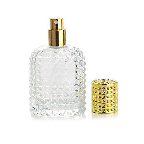 Enslz Lot de vaporisateurs vides rechargeables en verre transparent de 50 ml avec entonnoir de remplissage (doré)