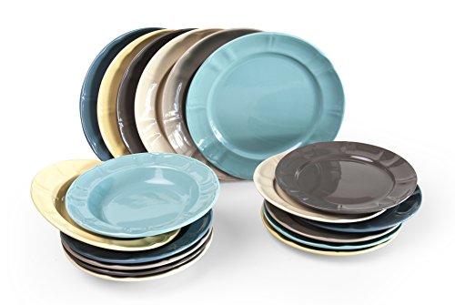 Excelsa Country Chic Servizio Piatti 18 Pezzi, Ceramica, Multicolor