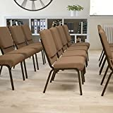 EMMA + OLIVER 18.5' W Stacking Church Chair in Brown Fabric - Gold Vein Frame