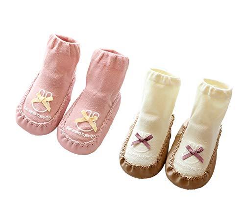Gavena Calcetines Antideslizantes para Bebé Niños Niñas Zapatos Cuero Bebe de Primer Paso Invierno 3-24 Meses Gris Azul Rosa(6-12 Meses,Rosa/Blanco)