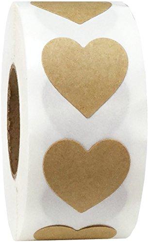 Kraft Natural Marrón Pegatinas Para el Corazón, 19 mm 3/4 Pulgadas Las Etiquetas de San Valentín 500 Paquete