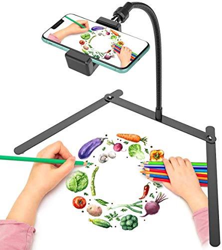 Soporte trípode ajustabl para Celular, Soporte para Celular, Soporte para enseñanza de transmisión en Vivo y Video en línea y demostración de elaboración de Alimentos, Dibujo, boceto y grabación.