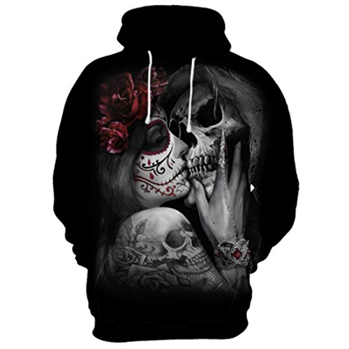 JYK-LQM Unisex Realistic 3D Printed Pullover Long Sleeve Hooded Sweatshirts with Pockets-Skull 5-2XL