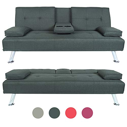 Convertible Futon Sofa Sleep Bed with Metal Legs, Lounge Couch with Armrest 2 Cupholders (Dark Grey)