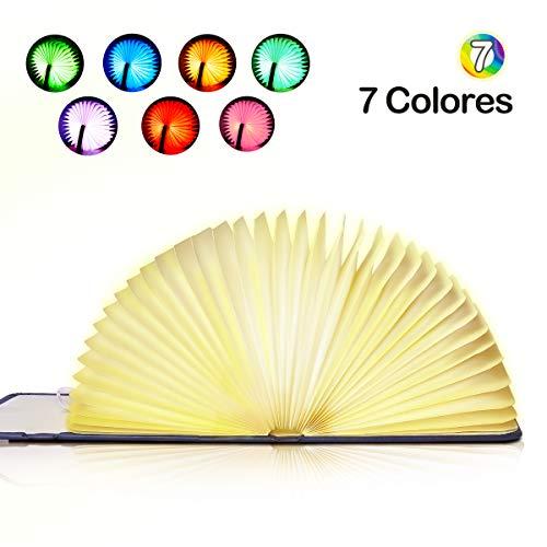 LED Lámpara de Libro Plegable Luces Lámpara Portatil de Libro Recargable 1800mAh USB Lámpara de Noche, Lámpara Decorativa de Mesa, EVILTO Lámpara Led de Escritorio - 7 Colores