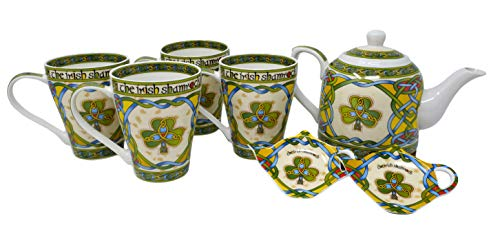 Royal Tara Traditional Irish Shamrock Tea Set of New Bone China Teapot & 4 Cups & 2 Teabag Holders