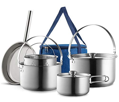 Camping Cookware Set 304 Stainless Steel 8-Piece Pots & Pans Open Fire Cooking Kit | Frying Pan Steamer with Travel Tote Bag | Compact For Outdoors & Indoors Kitchen Family Campfire Hiking RV