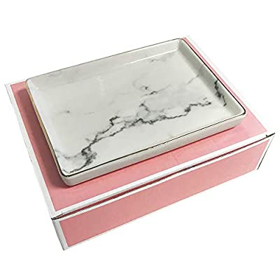 Jewelry Dish Tray | Marble Pattern Ceramic Dish Key Plate Holder or Key Tray Gold Edge | Wrapped in Decorative Gift Box